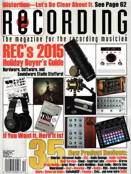 Recording Magazine Cover - 12/1/2015