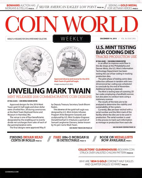 Coin World Weekly Cover - 12/14/2015