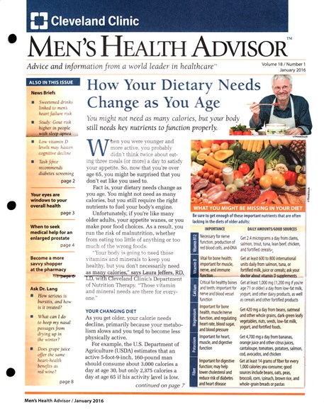 Men's Health Advisor Cover - 1/1/2016