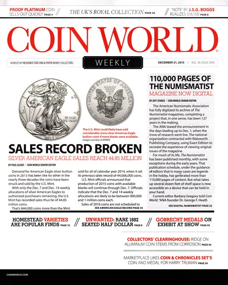 Coin World Weekly Cover - 12/21/2015
