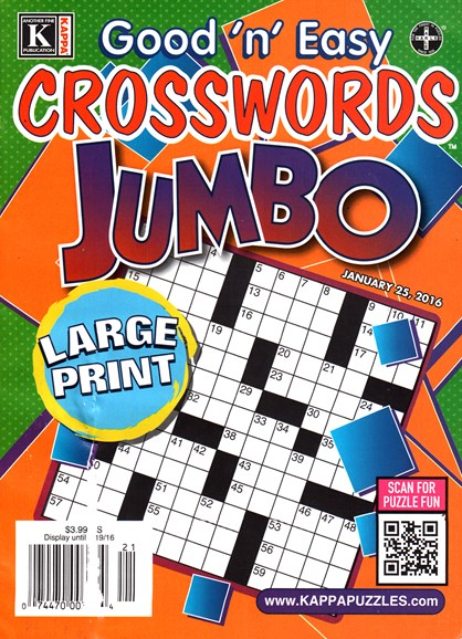 Good N Easy Crosswords Jumbo Cover - 1/25/2016