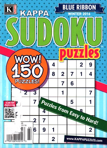Blue Ribbon Kappa Sudoku Puzzles Cover - 1/1/2016