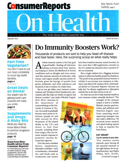 Consumer Reports On Health Cover - 1/1/2016