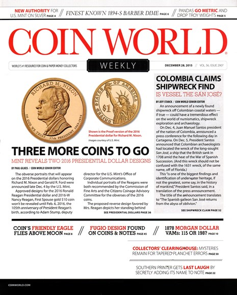 Coin World Weekly Cover - 12/28/2015