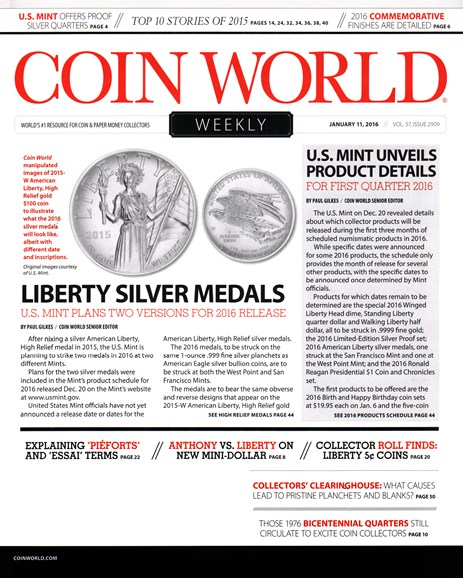 Coin World Weekly Cover - 1/11/2016