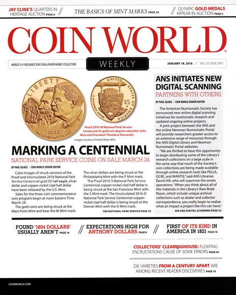 Coin World Weekly Cover - 1/18/2016