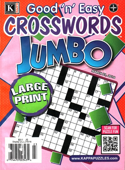 Good N Easy Crosswords Jumbo Cover - 3/21/2016