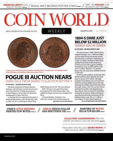 Coin World Weekly Cover - 1/25/2016
