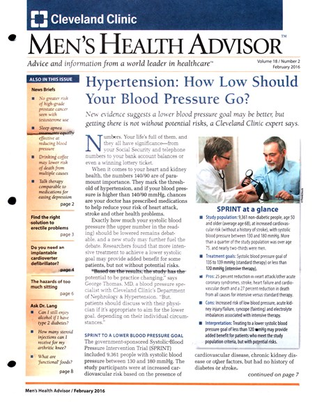Men's Health Advisor Cover - 2/1/2016
