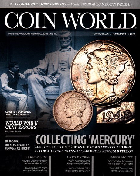 Coin World Monthly Cover - 2/1/2016
