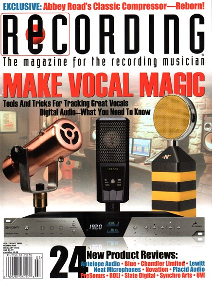 Recording Magazine Cover - 2/1/2016
