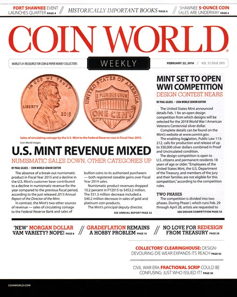 Coin World Weekly Cover - 2/22/2016
