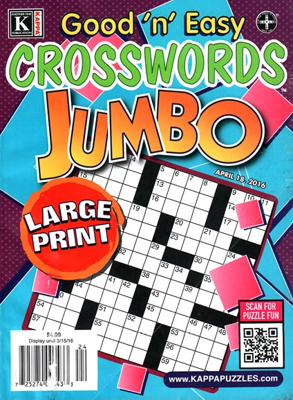 Good N Easy Crosswords Jumbo Cover - 4/18/2016