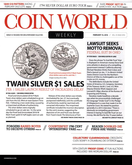 Coin World Weekly Cover - 2/15/2016