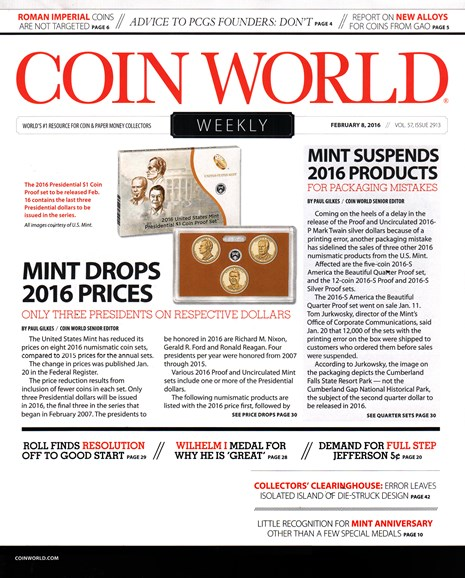 Coin World Weekly Cover - 2/8/2016