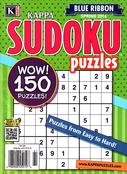 Blue Ribbon Kappa Sudoku Puzzles Cover - 3/1/2016
