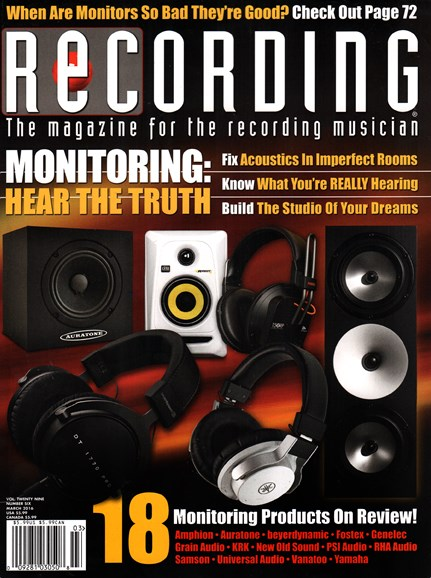 Recording Magazine Cover - 3/1/2016