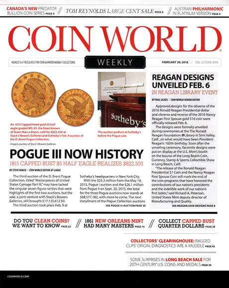 Coin World Weekly Cover - 2/29/2016