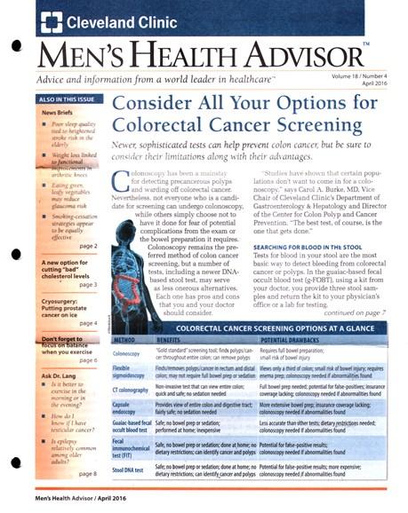 Men's Health Advisor Cover - 4/1/2016