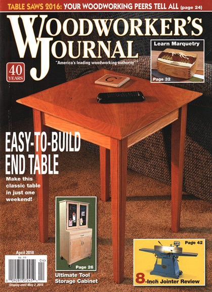 Woodworker's Journal Cover - 4/1/2016