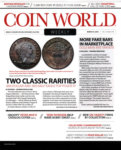 Coin World Weekly Cover - 3/21/2016