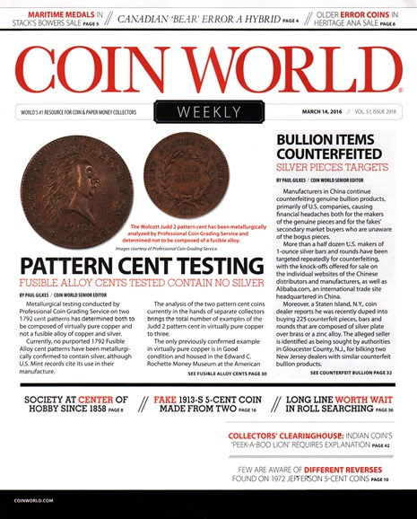 Coin World Weekly Cover - 3/14/2016