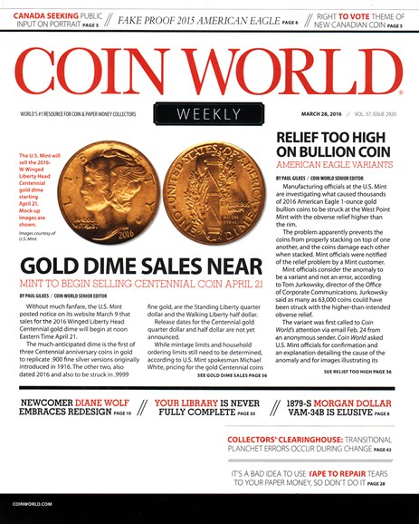 Coin World Weekly Cover - 3/28/2016