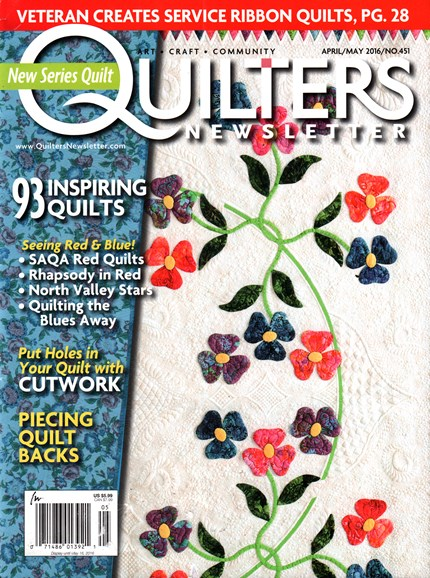 Quilter's Newsletter Cover - 4/1/2016