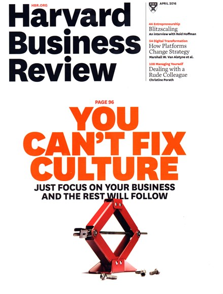 Harvard Business Review Cover - 4/1/2016