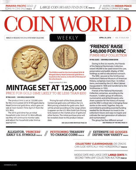 Coin World Weekly Cover - 4/25/2016