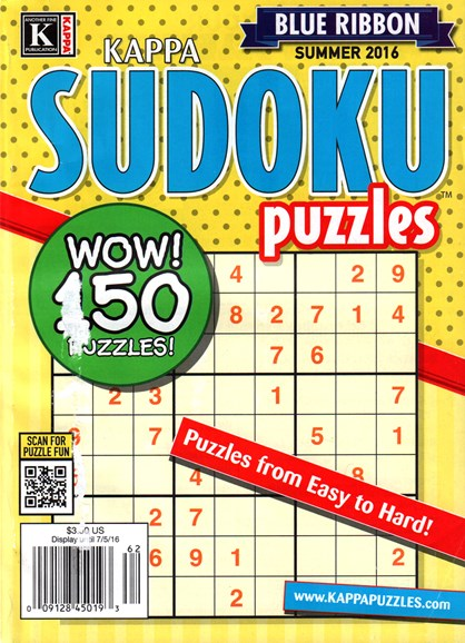 Blue Ribbon Kappa Sudoku Puzzles Cover - 6/1/2016