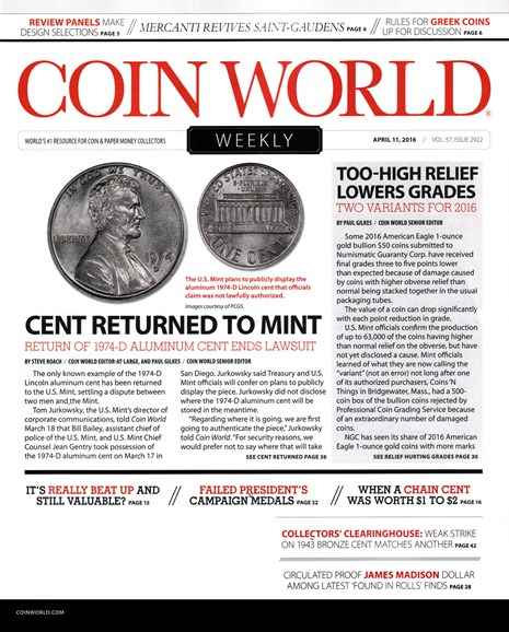 Coin World Weekly Cover - 4/11/2016