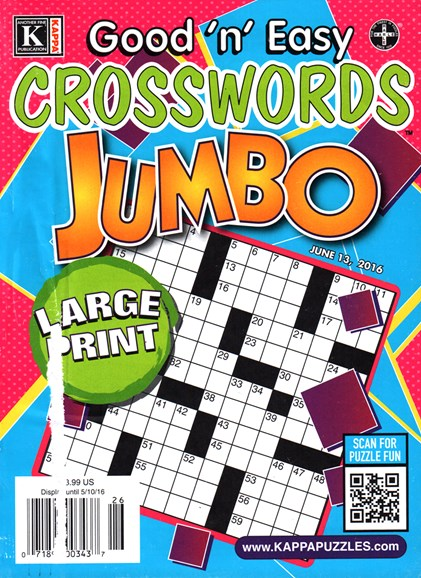 Good N Easy Crosswords Jumbo Cover - 6/13/2016