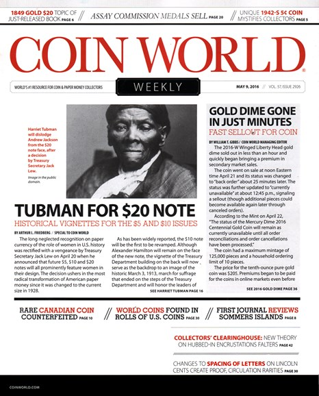 Coin World Weekly Cover - 5/9/2016