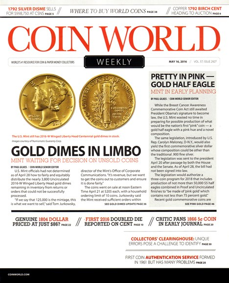 Coin World Weekly Cover - 5/16/2016