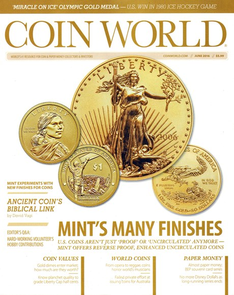Coin World Weekly Cover - 6/1/2016