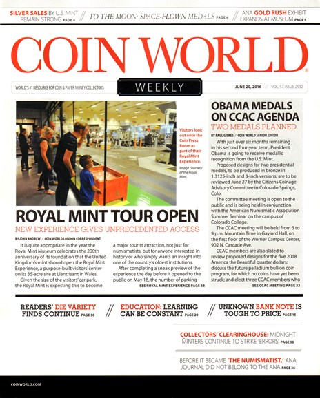 Coin World Weekly Cover - 6/20/2016