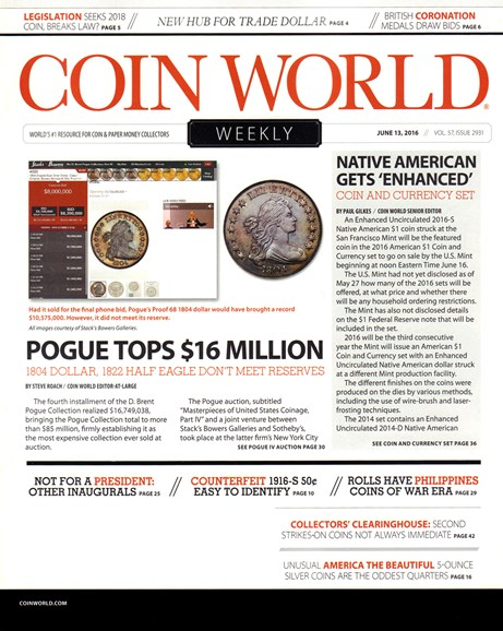 Coin World Weekly Cover - 6/13/2016