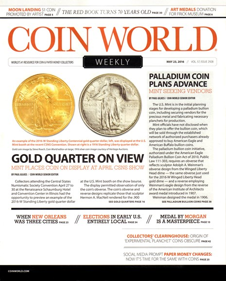 Coin World Weekly Cover - 5/23/2016