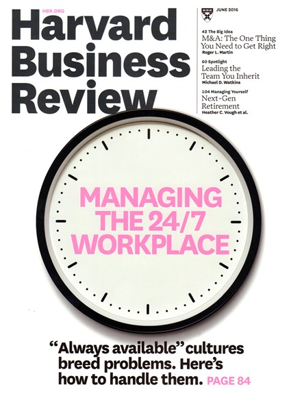 Harvard Business Review Cover - 6/1/2016