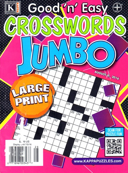 Good N Easy Crosswords Jumbo Cover - 8/8/2016