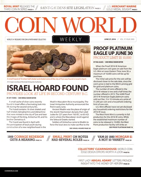 Coin World Weekly Cover - 6/27/2016