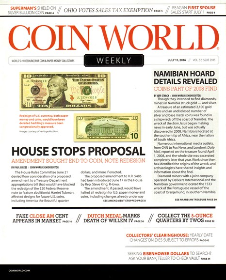 Coin World Weekly Cover - 7/11/2016