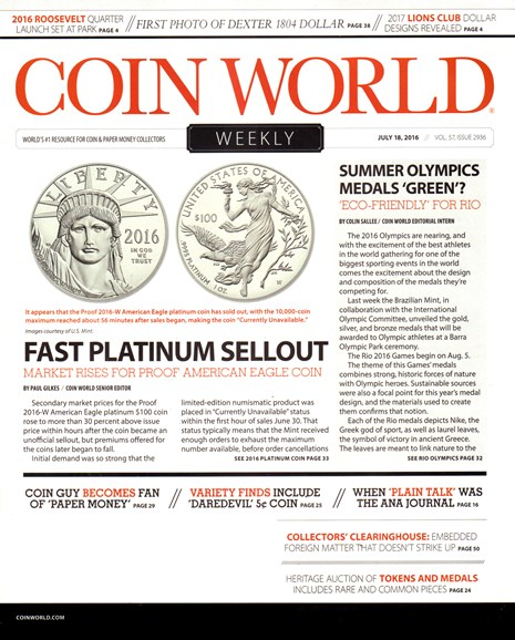 Coin World Weekly Cover - 7/18/2016