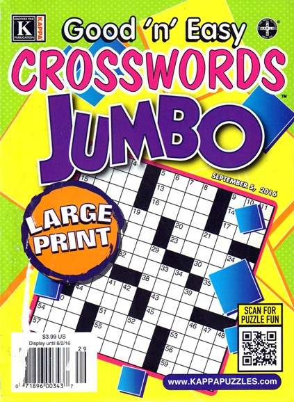 Good N Easy Crosswords Jumbo Cover - 9/5/2016