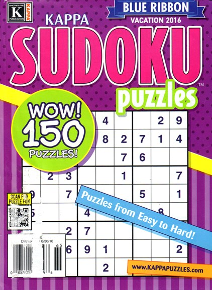Blue Ribbon Kappa Sudoku Puzzles Cover - 8/1/2016
