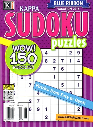 Blue Ribbon Kappa Sudoku Puzzles Magazine | 8/2016 Cover