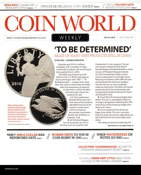 Coin World Weekly Cover - 7/25/2016