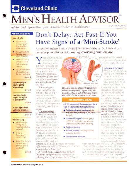 Men's Health Advisor Cover - 8/1/2016