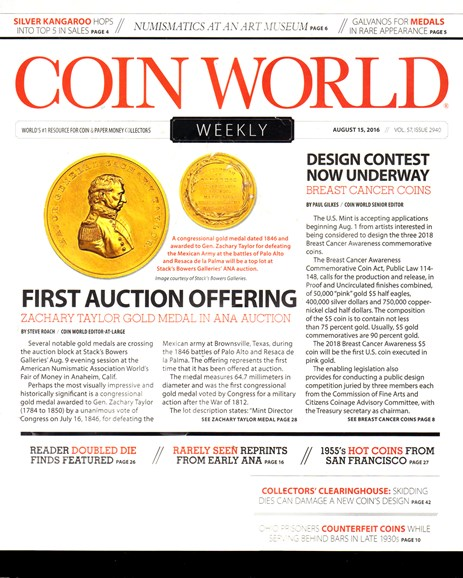 Coin World Weekly Cover - 8/15/2016